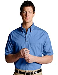 Men's Business Short Sleeve Wood Tone Buttons Poplin Shirt