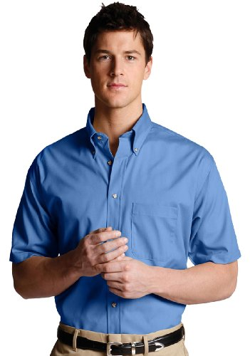 Edwards Men's Easy Care Short Sleeve Poplin Shirt, FRENCH BLUE, 4XLarge ()