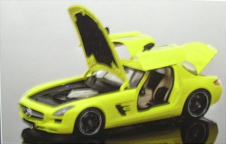 (2010 Mercedes SLS AMG Yellow With Black Wheels 1/18 Diecast Car Model by Minichamps 100039022 by)