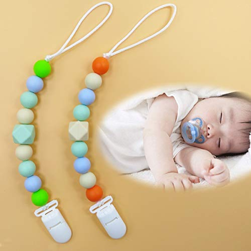 Pacifier Clip, MeBB Chic (Pack of 5) Silicone Teething Beads Food Grade Silicone Pacifier Clips for Boy and Girl, Universal For Teether Toys, Pacifier, Binky Holder, Soothie, Mam, Bibs