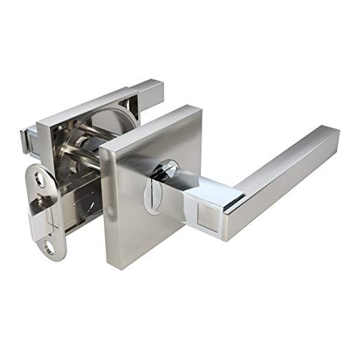 (TITANTON 1701 - Modern Door Handles Door Levers Set in Satin Nickel - Polished Chrome Finish - Passage No Lock)