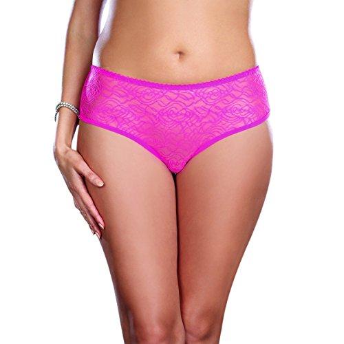 Dreamgirl Women's Plus-Size Ruffle Back Crotchless Panty, Hot Pink, 1X/2X