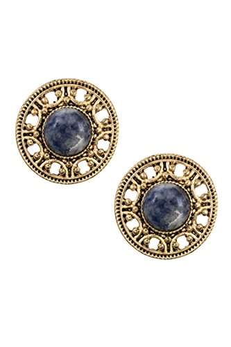 Earring Post Ayala (Karmas Canvas Round Filigree Stone Accent Post Earring (Burnished Gold/Blue))