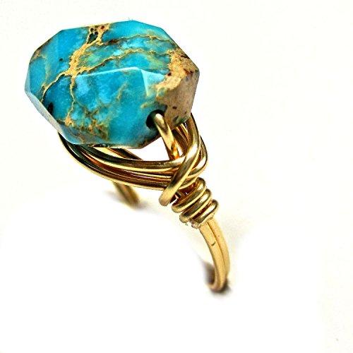 Natural Turquoise Sea Sediment Artisan Gold Tone Wire Wrap Ring All Sizes 12 Vintage Swarovski Art