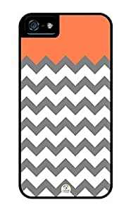 Chevron White Grey Coral oranges Stripes a Rugged Premium iphone 4s / iPhone orange 4s case - Fits iphone 4s, iphone 4s T-Mobile, AT&T, such Sprint, Verizon and International (Black)