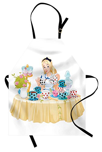 Lunarable Alice in Wonderland Apron, Alice Pours Cup of Tea with Cupcakes Flowers in Wonderland Fantasy, Unisex Kitchen Bib with Adjustable Neck for Cooking Gardening, Adult Size, Pastel Beige