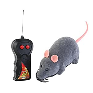 ROSENICE Remote Control Toy Wireless Electronic Remote Control Mouse Toys Gift for Cat Dog White Ear (Gray)