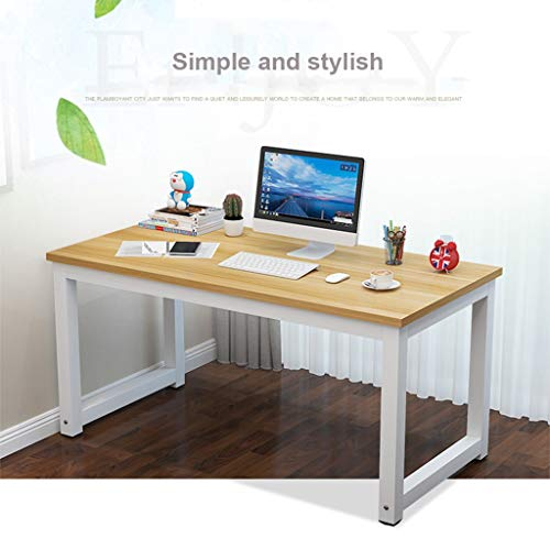 (Vintage Simple Computer Desktop,Household PC Study Laptop Table for Home Office Student Elegant Durable Wood Desk Workstation (White))