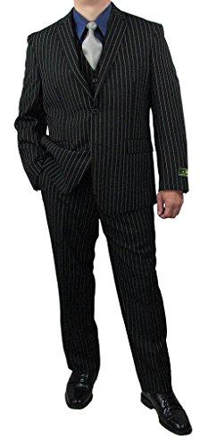 Quality Sharp 3pc Men Pinstripe Dress Suit - Black 40L (40l Mens 3 Piece Suit)