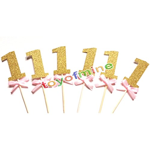MIJORA-12X 1st birthday number Cake cupcake topper Baby Shower Party Decoration (1 Grub Head)
