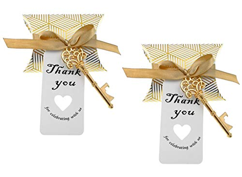 50pcs Skeleton Key Bottle Opener Wedding Party Favor Souvenir Gift with Candy Box Escort Tag and Ribbon(Gold Tone) -