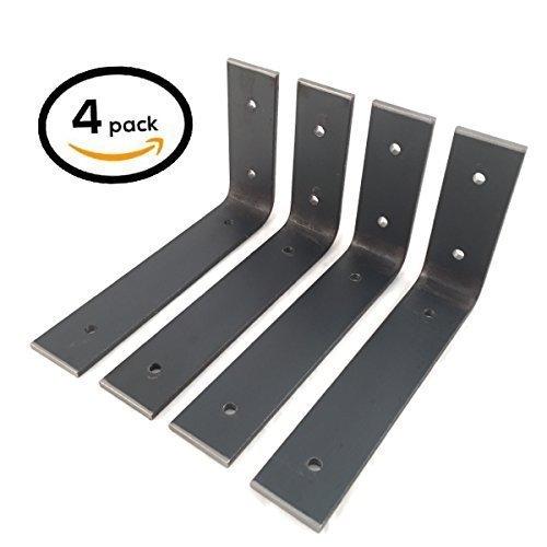 4 Pack – 6″L x 4″H Bracket, Handcrafted Forged Rustic Reclaimed Salvaged Metal Steel Shelf Wall Brackets, Modern decorative bracket shelve Storage Strap Angle Corner iron
