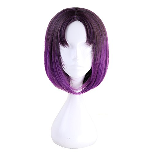 Xingwang Queen Anime 35cm Short Gradient Purple Cosplay Wig Centre Parting Hair Synthetic Party Wigs with free cap ()