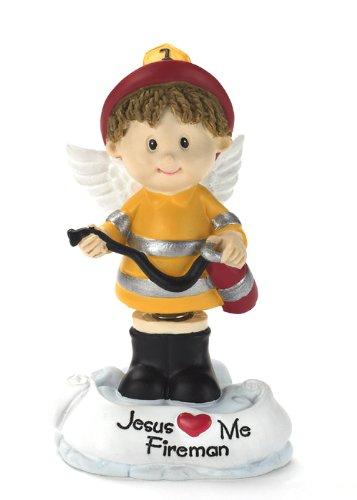 Fireman Jesus Loves Me Bobble Angel Figurine - Bobble Head Jesus