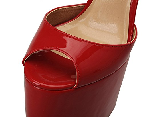 Toe Stage Model Platform Peep Dancing Sandals Evening KTWK Strap T Ankle High Shoes Heels Prom CAMSSOO Red Party Womens Extreme Fashion qZtpwwgT