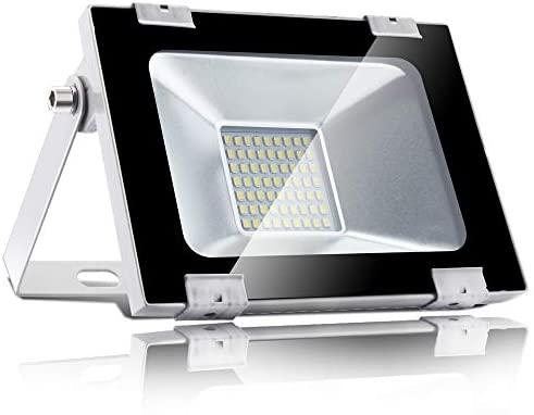 30W LED Foco proyector, LED Reflector industrial para exteriores,Resistente al agua, IP65 impermeable, 15000LM, 6000K Blanco frio,Foco para jardín, ...