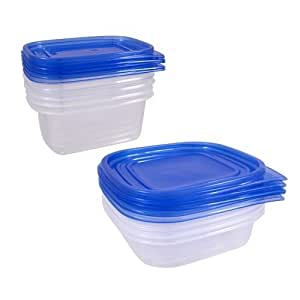 10 Plastic Containers w/ Lids Food Storage Set