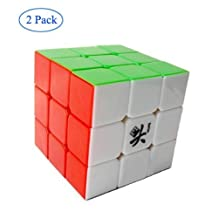 Senhai Dayan 5 ZhanChi 3x3x3 Speed Cube 6-Color Stickerless (2 Pack) With One Free Cube Bag
