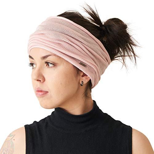 CHARM Silk Headband Neck Gaiter - Womens Chemo Head Wrap Mens Motorcycle Mask Pink ()