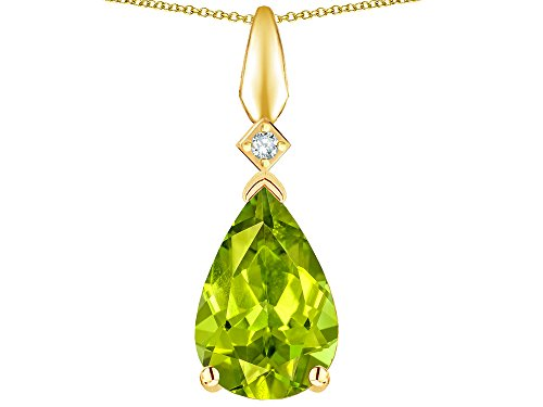 - Star K Genuine Peridot Drop Pear Shaped Pendant Necklace 10 kt Yellow Gold