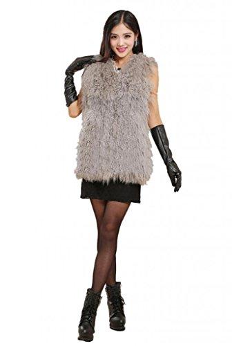 テレビを見る落花生成熟CXファーレディース優雅Mongolian Lamb Furベスト、グレー