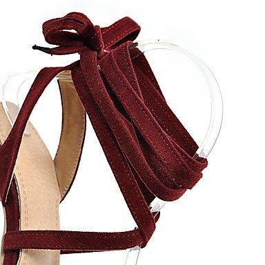 LvYuan Tacón Robusto-Confort-Sandalias-Informal Vestido-Vellón-Negro Rojo Gris Black