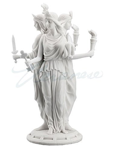 Hecate Greek Goddess of Magic & Witchcraft Statue Sculpture White Finish ()