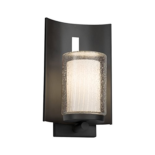 (Fusion - Embark 1-Light Outdoor Wall Sconce - Cylinder with Flat Rim Artisan Glass Shade in Ribbon - Matte Black Finish - LED)