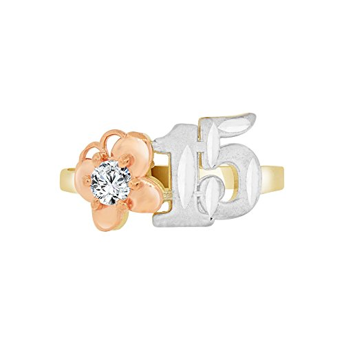14k Tricolor Gold, Small & Dainty 15 Anos Quinceanera Butterfly Ring Created CZ Crystal Size 4.5