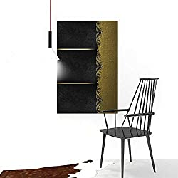 Auraise-home Color Wall Art Painting FramelessBlack with Gold Ornaments Template for Design forad brochure or Announcement Invitation Abstract Hotel Office Decor Gift Piece W32 x H48