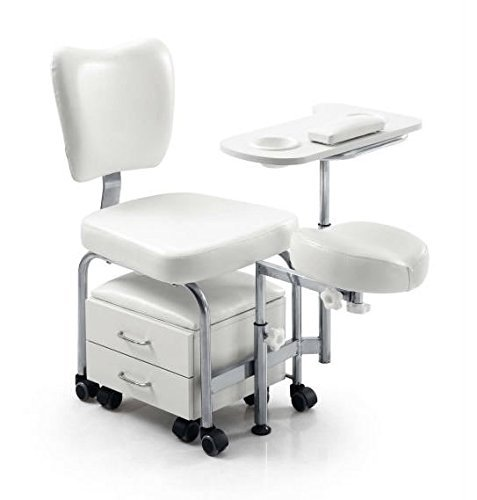Urbanity manicure pedicure nail station beauty chair stool table spa drawers white  sc 1 st  Amazon UK & Beauty Salon Supplies Pedicure Stool and Foot Rest - White: Amazon ... islam-shia.org