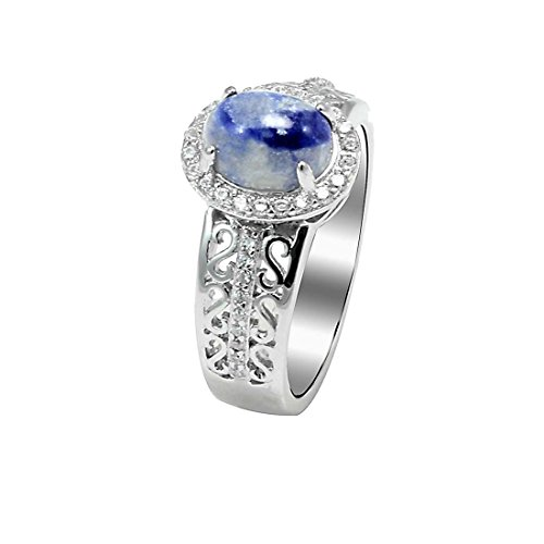 Halo Filigree Engagement Ring Oval Simulated Lapis Lazuli Round Cubic Zirconia 925 Sterling Silver Size (Lapis Lazuli Flower)