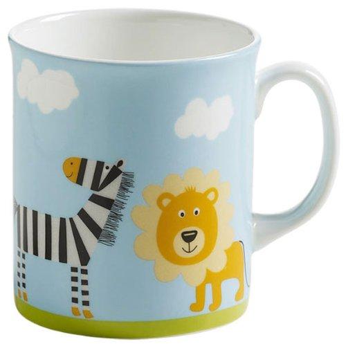 Maxwell & Williams S91006 Children's Safari Becher, Kinderbecher, Tasse, Motiv: Löwe und Zebra, in Geschenkbox, Porzellan