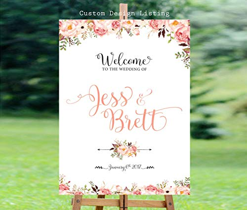 Dozili Wedding Welcome Sign Welcome Wedding Sign Floral Wedding Sign Reception Sign Customized Sign Bohemian Wedding Sign Custom Sign (Pub Sign Mlb)