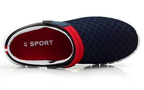 Ausom Men Women Summer Breathable Mesh Net Cloth Shoes Beach Aqua Sandals Sport Casual Non-slip Slippers Dark Blue kwU8Ri