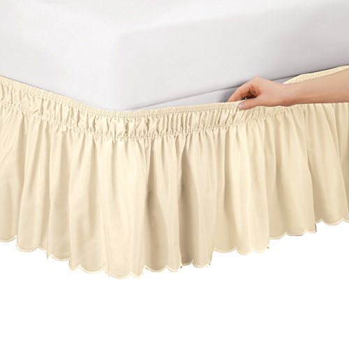 (Collections Etc Scalloped Elastic Bed Wrap Around, Easy Fit, Dust Ruffle Bedskirt, Ivory, Twin/Full)