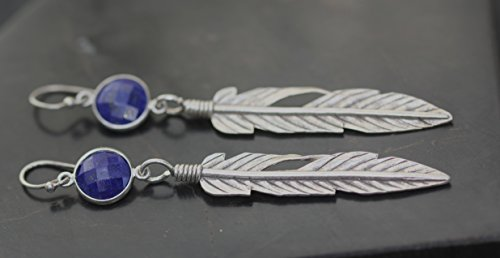 Lapis Feather Earrings