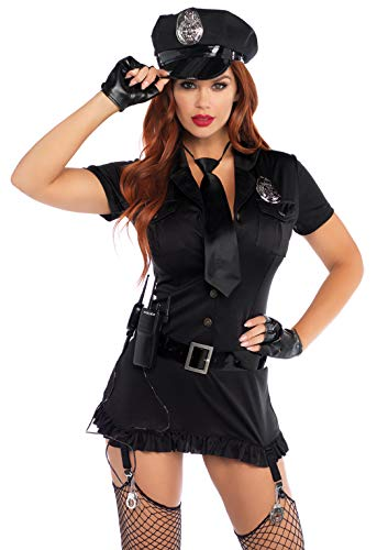 - Leg Avenue Women's 6 Piece Dirty Cop Costume, Black, X-Large