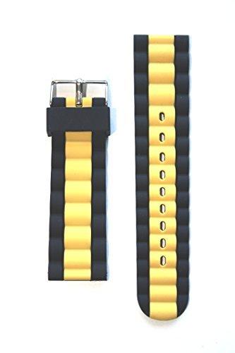 Breitlingリンクスタイル24 mmイエローとブラックシリコン交換用バンド  B0182W4ZGM