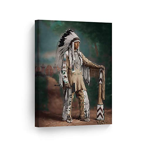 SmileArtDesign Indian Wall Art Portrait of a Native American Canvas Print Home Decor Decorative Artwork Gallery Wrapped Wood Stretched and Ready to Hang -%100 Handmade in The USA - 40x30