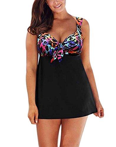 Modest Swimwear for Women Retro Print Two Piece Tankini Set Swimwear Swimdress XL by Monzocha