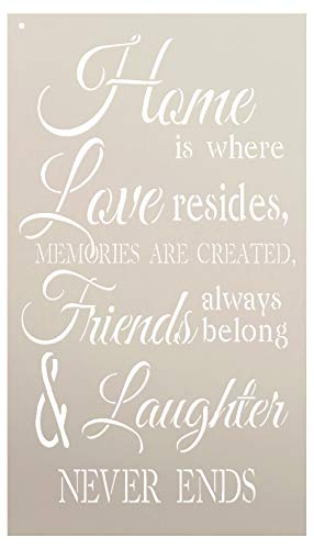 Home is Where Love Resides Stencil by StudioR12 | Reusable Mylar Template | Use to Paint Wood Signs - Pallets - Pillows - DIY Home, Family & Love Decor - Select Size (12