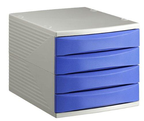 Caj/ón Archivador de Oficina 4 Cajones Rotho 10800Mk0Lg Quadra Colores gris y azul A4