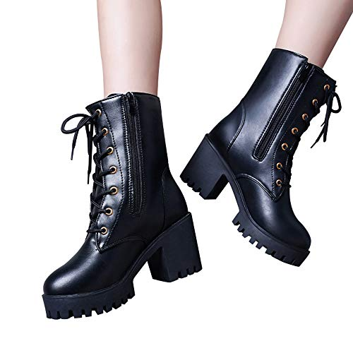 b5cee24a740 Gyoume Martin Boots Women Combat Boots Lace Up Buckle Boots Shoes Winter  Martens Flat Wedge Boots