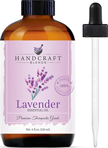 (Handcraft Lavender Essential Oil - Huge 4 OZ - 100% Pure & Natural - Premium Therapeutic Grade with Premium Glass Dropper)