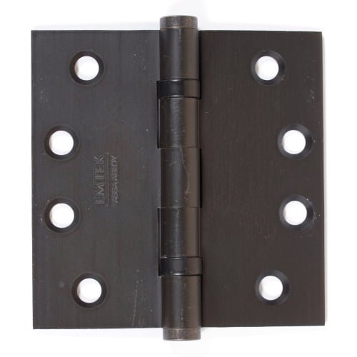 Emtek 96414 4'' x 4'' Solid Brass Square Corner Ball Bearing Mortise Hinge - Pair, Oil Rubbed Bronze