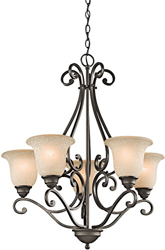 Kichler Lighting 43224OZ 5-Light Chandelier with White Scavo/Light Umber Glass, Olde Bronze Finish