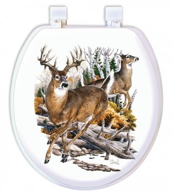 Ginsey Standard Embroidered Soft Toilet Seat with Plastic Hinges, Deer