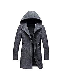 Friendshiy Newest Models Winter British Style Men's Wool Coat Design Zipper Long Trench Coat Hooded Woolen Coat Men
