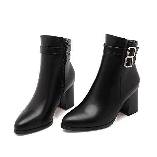 JIEEME Ladies Fashion Ankle Zip High Heels Block Heels Red Black Women Boots Black te8s852